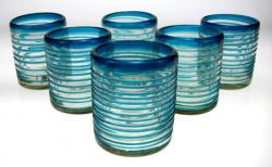 Mexican glass turquoise aqua marine drinking glass 10oz set of 6