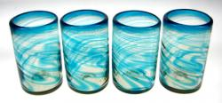 Drinking Glasses, Turquoise Swirl, 16oz, Set of 4