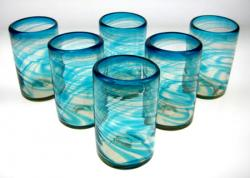 Turquoise Swirl Tumblers, 16oz, Set of 6