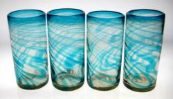 Turquoise Swirl Tumblers, 20oz, Set of 4