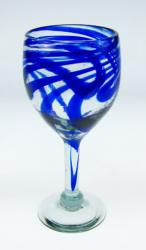 wine glass hand blown from Mexico blue swirl design