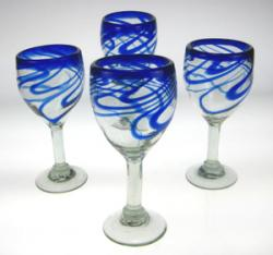 Wine glasses hand blown blue swirl made in Mexico