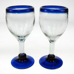 Blue Rim Wine Glasses, Set of 2