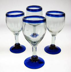Blue Rim Wine Glasses, Set of 4