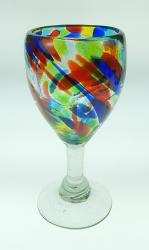 Wine glass hand blown 10oz, Confetti Swirl