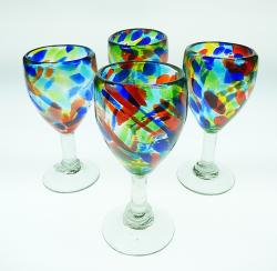 Wine Glasses Confetti Swirl 10 oz set of four