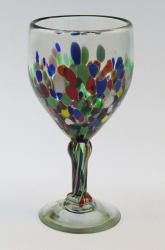 Wine glass hand blown 14oz Confetti Bottom made in Mexico