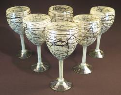 Wine glasses hand blown 14oz White Confetti w Chocolate swirls 6