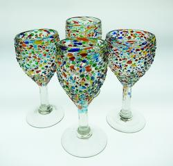 Wine Glasses hand blown Pebble Confetti 4