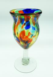 Wine Glass hand blown 10oz confetti swirl fancy made in Mexico