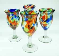 Wine Glasses hand blown 10 oz confetti swirl fancy 4 made in Mexico