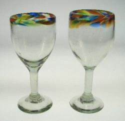 Wine Glasses hand blown Confetti rim two 8oz