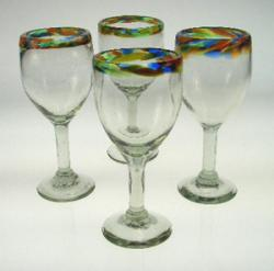Wine Glasses hand blown Confetti rim four 8oz