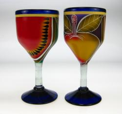 Wine with hand painted fruit designs   2 - 14oz glasses