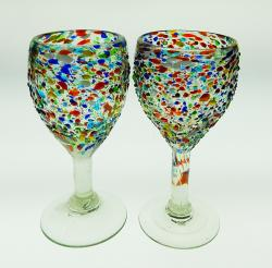 Mexican glass wine confetti bumby pebble raised Mexicop