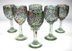 Mexican Glass wine confetti bumby pebble raised Mexico