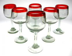 Mexican glass red rim wine 6