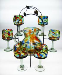 Wine Goblets/Glasses hand blown 14oz Confetti Swirl, Pitcher and Rack