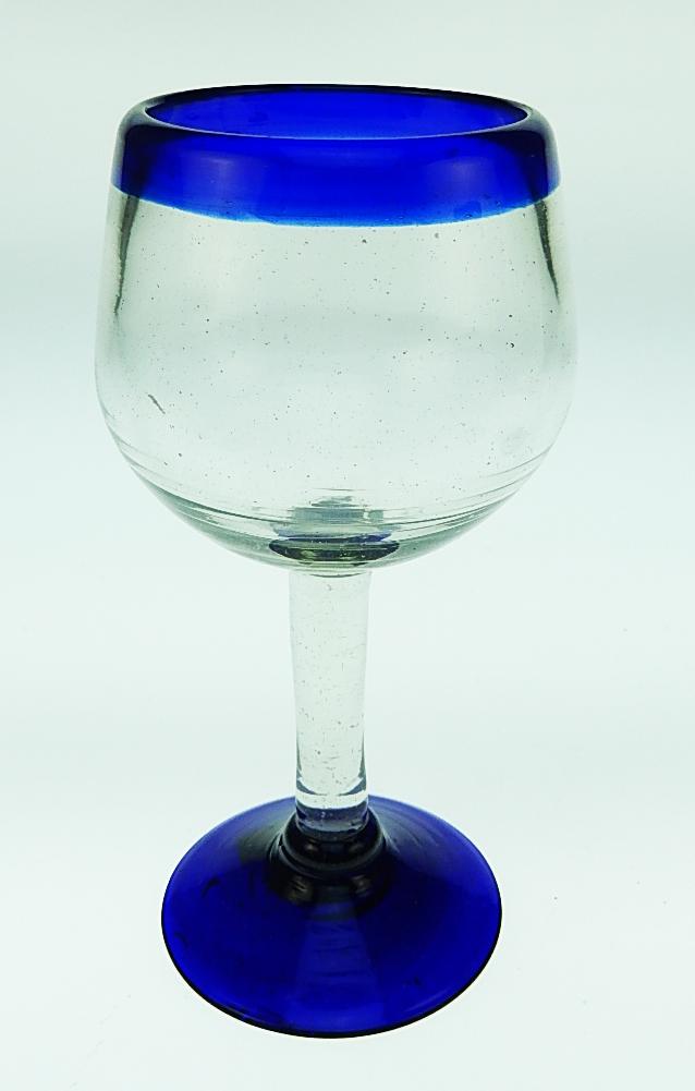 wine glass hand blown 10oz blue rim  tulip shape
