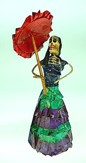COLOR Y TRADICI/ÓN Mexican Catrina Doll Day of Dead Skeleton Paper Mache Dia de Los Muertos Skull Folk Art Halloween Decoration # 1577