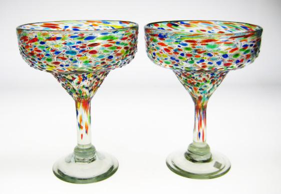 Margarita Glasses, Mexican Pebble Confetti Glass Made In