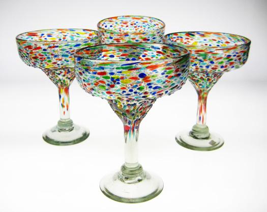 Mexican Margarita Glasses, Bumpy Confetti, 14oz, Set Of 4