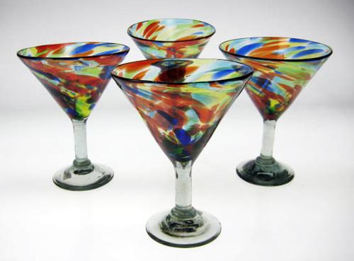 Confetti Swirl Martini Glasses Made In Mexico With