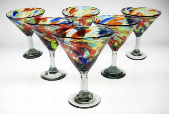 Confetti Swirl Martini Glasses Six Made In Mexico With