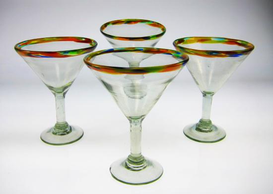 Mexican Margarita Martini Glasses With Confetti Rim