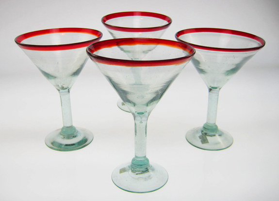 Martini Glasses Red Rim Set Of 4 Made In Mexico With