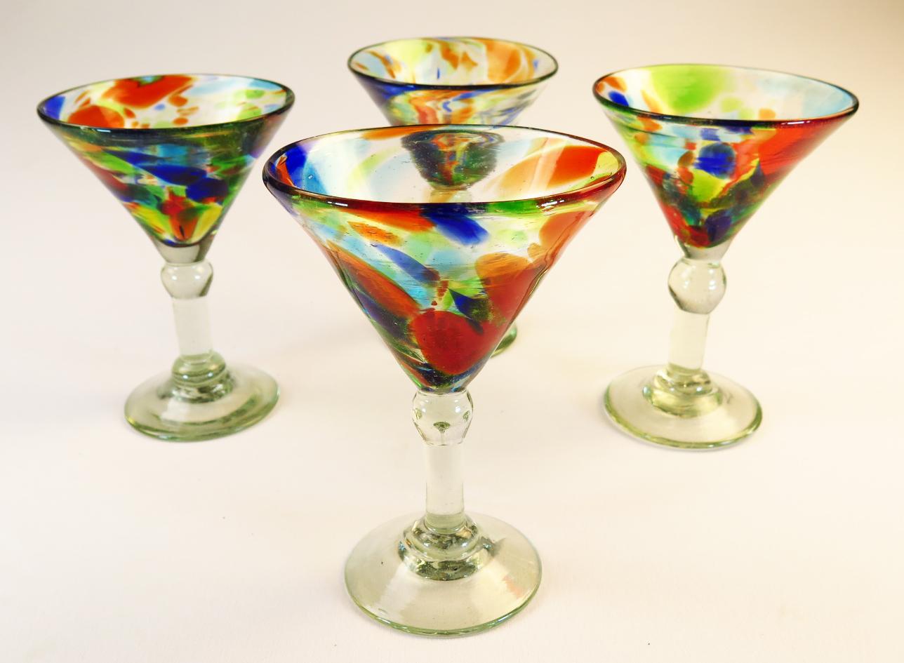 Classic Martini 6oz Set Of Four Confetti Swirl Made In Mexico
