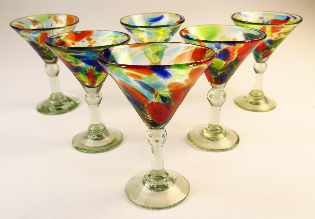 Classic Martini 6oz Set Of Six Confetti Swirl Made In Mexico