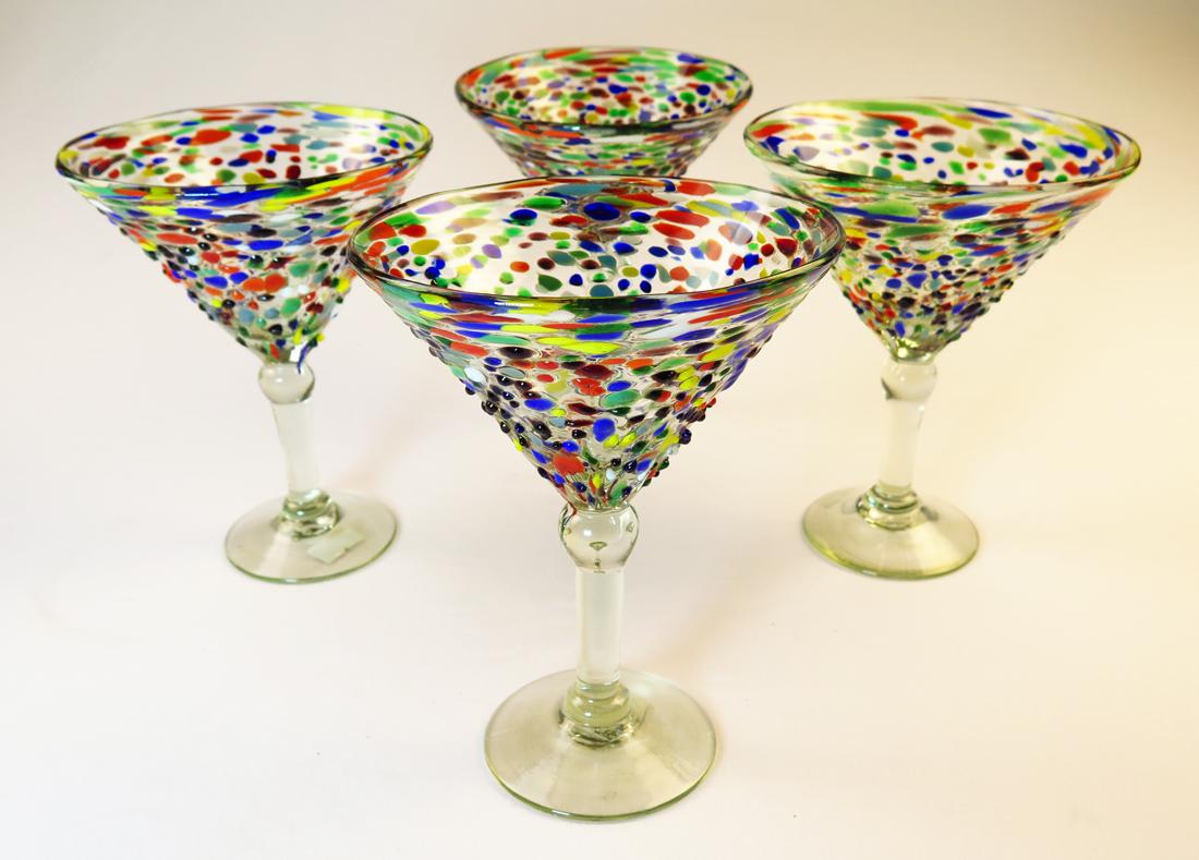 Mexican Glass Pebble Confetti Martini 14oz Set Of Four