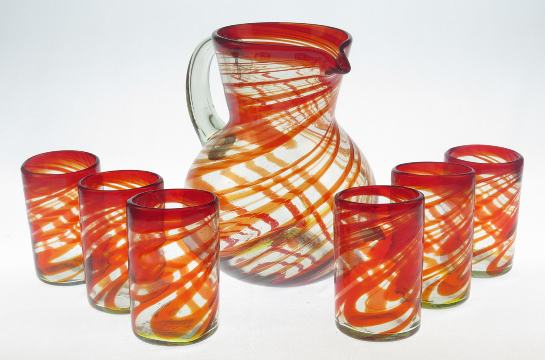 Mexican Glass Set Pitcher And Six 16oz Red Swirl Glasses