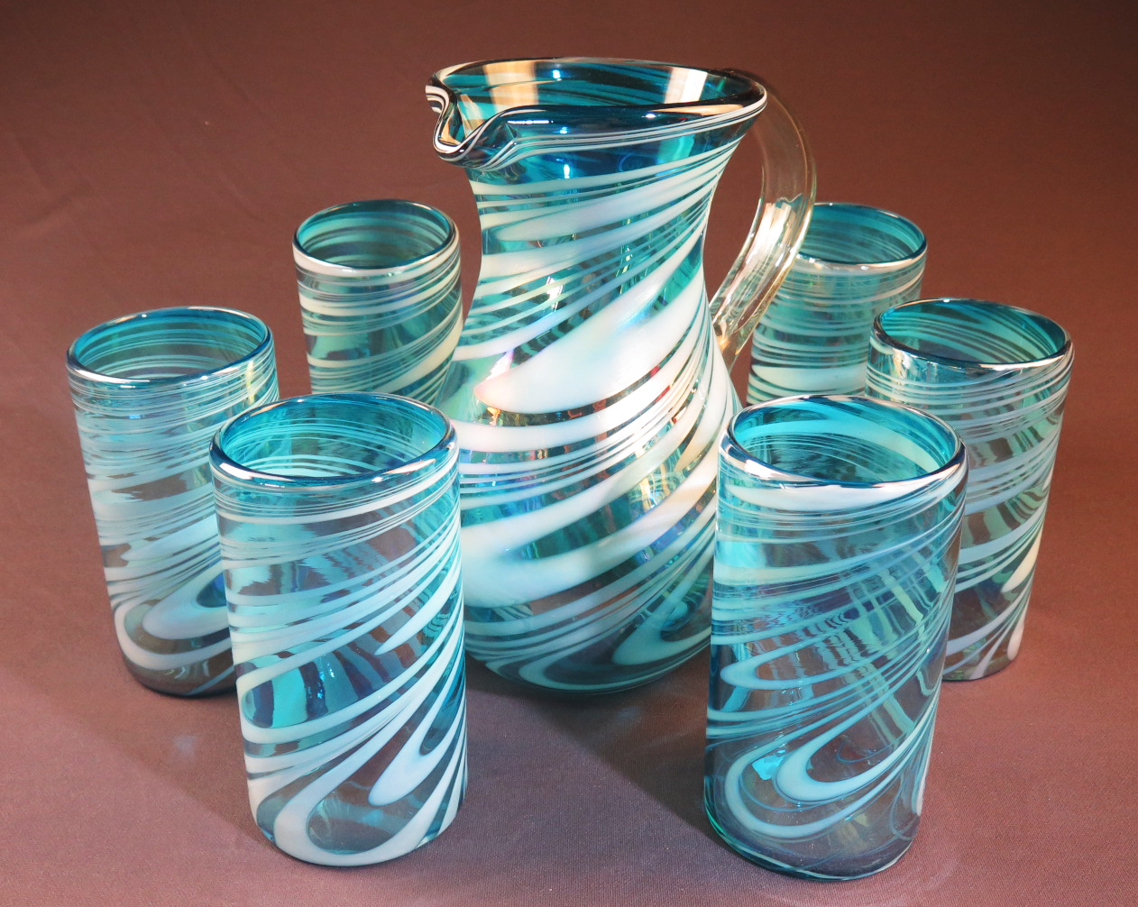 Mexican Glass Set Pera Pitcher With Six 18oz Tumblers Turquoise And White Swirl Hand Blown In
