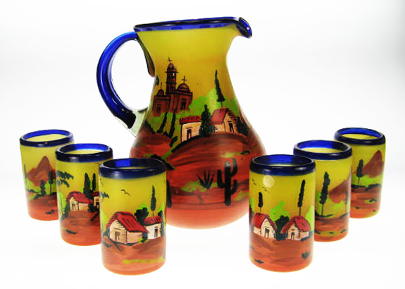 Mexican Lime Glasses With Matching Pitcher & Rack, Set Of Six
