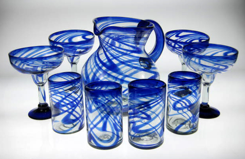 Mexican Glass Set Blue Swirl 16oz Tumblers 4, Margarita