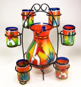 Mexican Glassware And Matching Pitcher Hand Blown Glassware