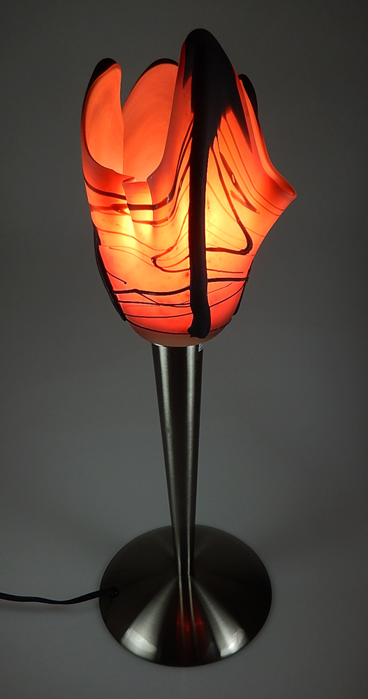 Hanging Lamp Red And Black Mexican Glass Lamp Shade Art Glass Made