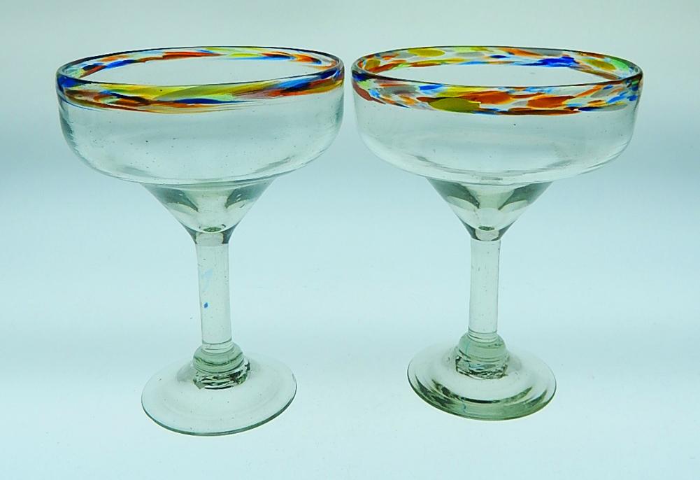 Mexican Glass Margarita Glasses Confetti Rim 15 Oz