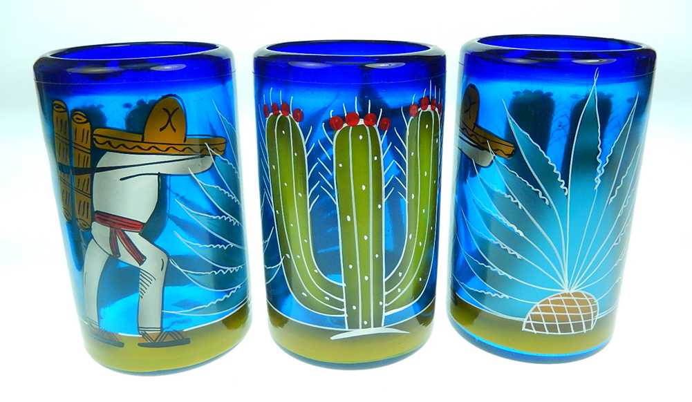 Mexican Glass Tumblers, Hand Painted Cactus, Made In