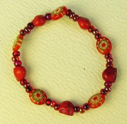 Day of the Dead Bracelet red skulls and flowers