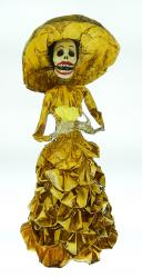 "Catrina in Yellow dress with flower 18"" tall"