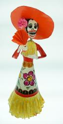 Mexican Catrina hand painted  with orange fan  18 inches tall