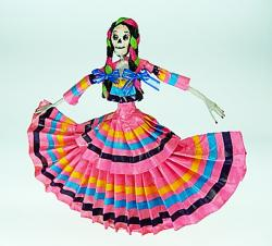 Day of the Dead Catrina Dancer in Pink Stripes