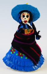 Catrina in Rebozo with clay mugs red flower dress