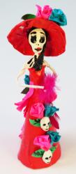 Catrina with skulls 7 inch red with pink trim