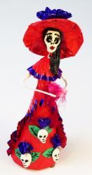 Catrina with skulls 7 inch red with purple trim