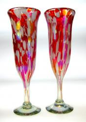 Champagne flutes hand blown Red White Confetti 2