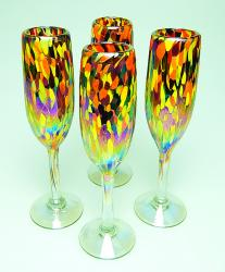 Champagne flutes hand blown 7oz  Mardi Gras Confetti  set of Four